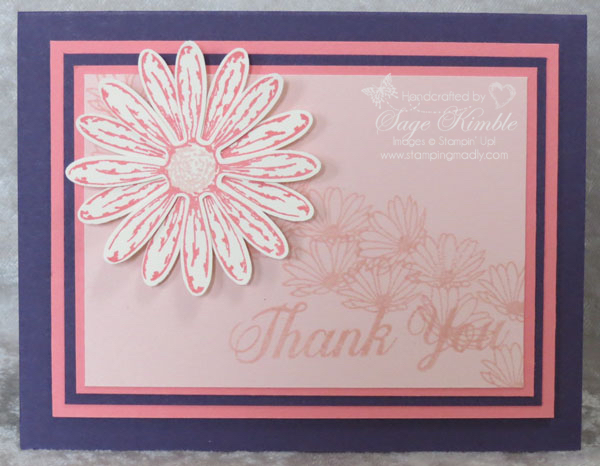 Powder Pink and Daisy Delight in handmade card from Stamping Madly