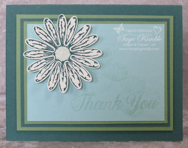 Daisy Delight Bundle in handmade card with Tranquil Tide new 2017 In Color from Stampin' Up!