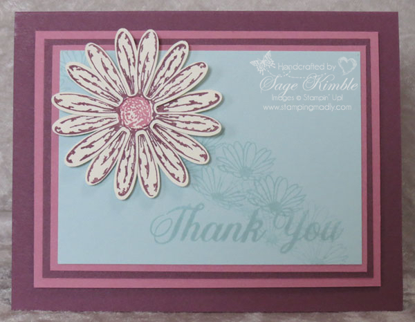 Fresh Fig and Daisy Delight in handmade card from Stamping Madly
