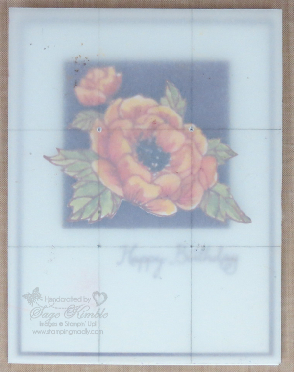 Rule of Thirds grid on Birthday Blooms card for fall