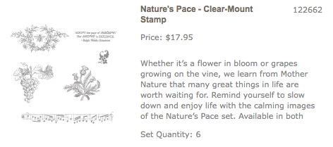 Click her to order Nature's Pace Stamp Set from Stampin' Up!