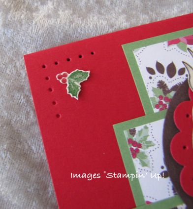 Holly Berry handmade Christmas card detail