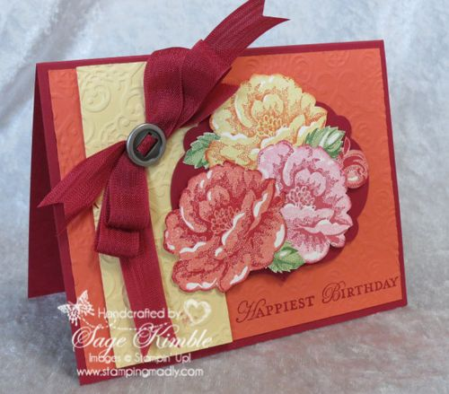 Handmade Birthday Card with Stippled Blossoms Stamp Set
