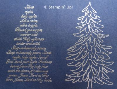 Evergreen stamps with Silver Embossing Powder