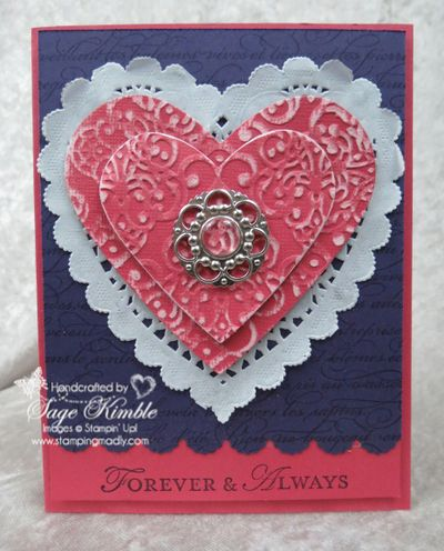 Lacy Brocade Handmade Valentine from Stamping Madly