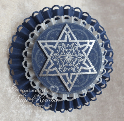 Handmade Hanukkah Ornament from Stamping Madly made with Jewish Celebrations stamp set