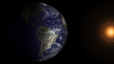 Spring equinox as seen from outer space, photo credit NOAA