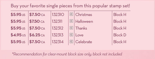Use These Item Numbers to order Single Stamps from the Seasonal Sayings set