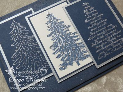 Handmade Christmas Card with Evergreen stamp set from Stamping Madly