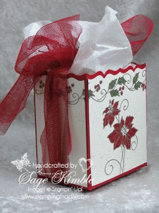Handmade Christmas Gift Box from Stamping Madly with Christmas Blessings stamp set and Fancy Favor Die