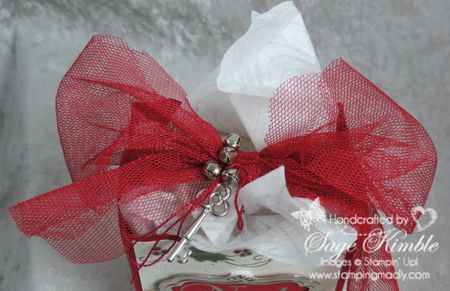 Cherry Cobbler Tulle Ribbon with Trinket Key and Jingle Bells from Stamping Madly